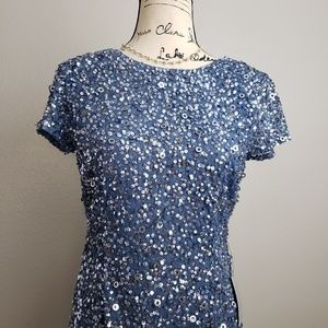 NWT Adrianna Papell Blue Sequined Shift Dress 6